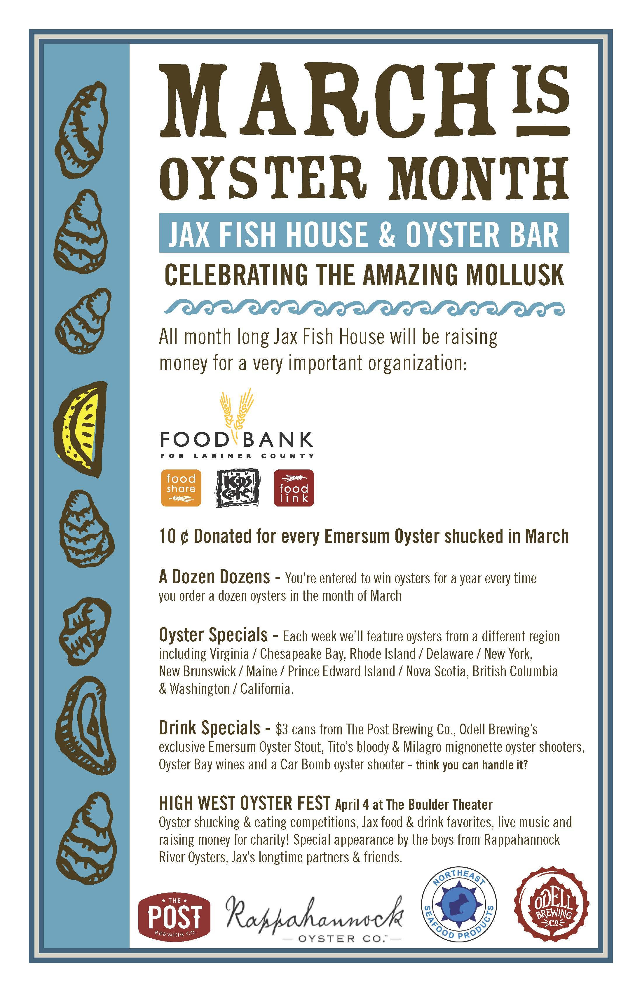 Oyster Month at JAX Fish House Food Bank
