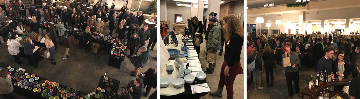 Photo collage from Empty Bowls 2019