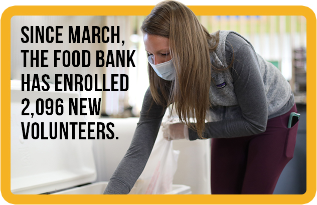 Image of a Food Bank volunteer selecting food to be distributed.
