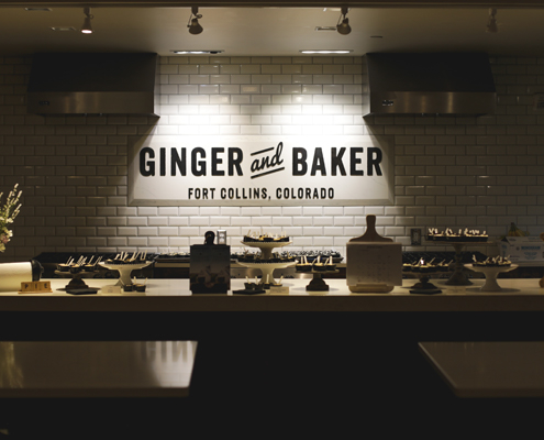 A sparsely lit photo of Ginger and Baker's kitchen.