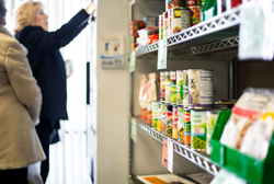 Food Bank client makes selection.